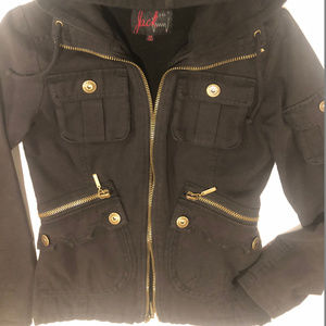 Jack Women 's Fitted Black Hooded Jacket Size XS